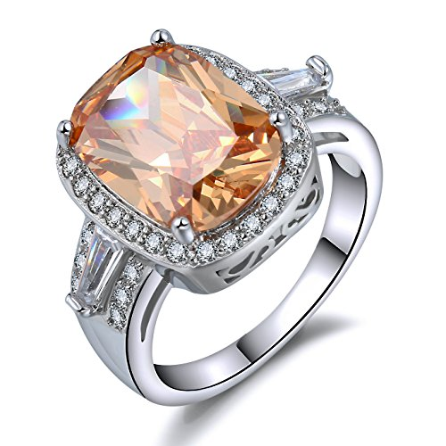 Ladies Cocktail Ring (Cushion Cut Champagne Cocktail Rings - 6 Ct. Cubic Zirconia Victoria Wieck Halo Band Size 6-10)