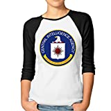 SUPERMORE CIA Logo Women's 3/4 Sleeve 100% Cotton Baseball Tee/T Shirts Black