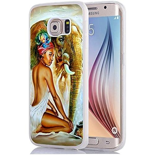 Galaxy S7 Edge Case, Samsung Galaxy S7 Edge Case Beautiful black woman with elephant Sales