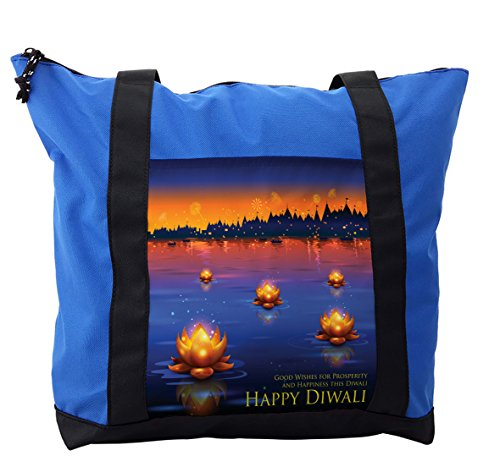 Lunarable Diwali Shoulder Bag, Prosperity and Well Wishes, Durable with Zipper by Lunarable