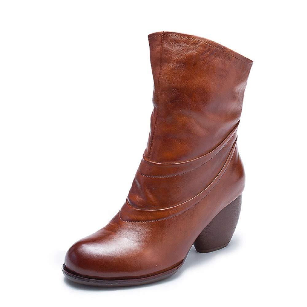 ZHRUI Mid Calf Stiefel Damen Block Zipper Leder Vintage Soft Schuhe (Farbe   Braun, Größe   EU 40)