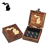 Michigan Mitt Etched Wine and Whiskey Stones