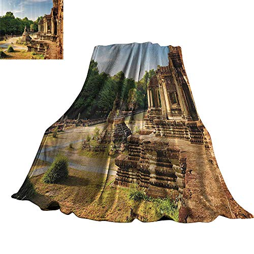 - WinfreyDecor Home Decor Home Throw Blanket Outer Hallway with Columns of Ancient Aged Monument Authentic Landmark Civilization Theme 36
