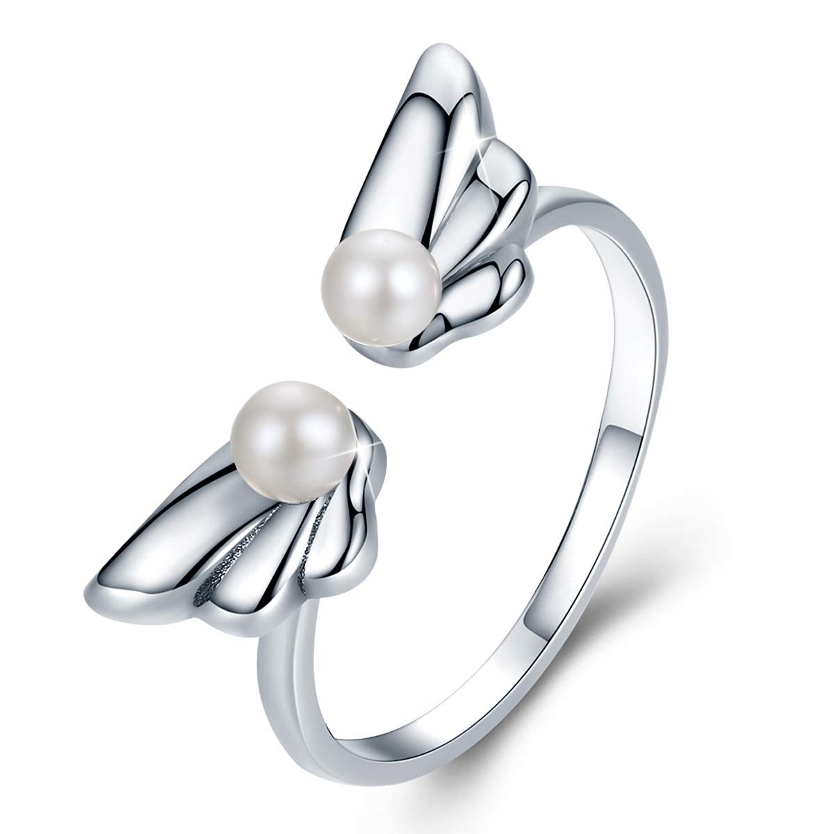 FOREVER QUEEN Cat Ring, 925 Sterling Silver Cute Kitty Sticky Cat Ring with Long Tail Opening Mouth Ring, Simple Wedding Finger Ring for Women Girls BJ09061