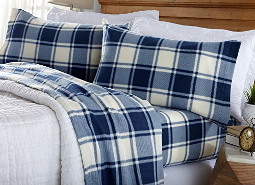 Great Bay Home Super Soft Extra Plush Plaid Fleece Sheet Set. Cozy, Warm, Durable, Smooth, Breathable Winter Sheets with Plaid Pattern. Dara Collection Brand. (Twin, Navy) (Twin Fleece Fitted Sheet)
