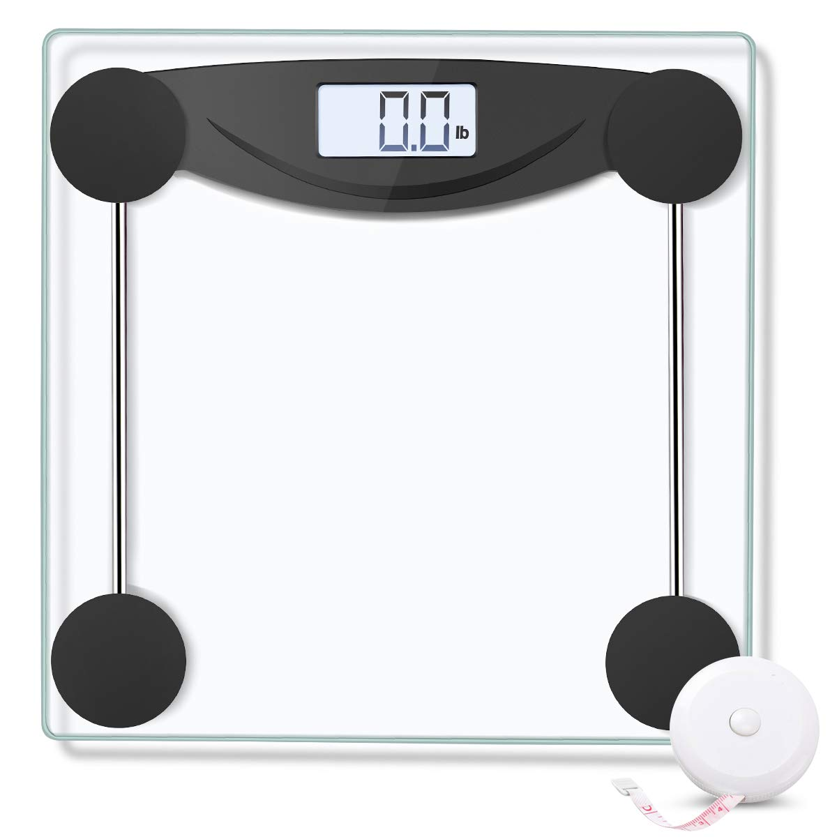 SUGOAL Digital Body Weight Bathroom Scale Weighing Scale with Body Tape Measure, Large Backlit LCD Display, Step-On Technology, Tempered Glass, 400 lb, Clear