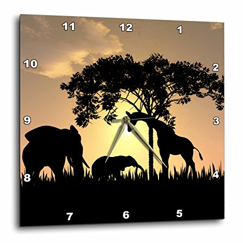 3dRose dpp_48979_2 African Safari Silhouette Wall Clock, 13 by 13-Inch
