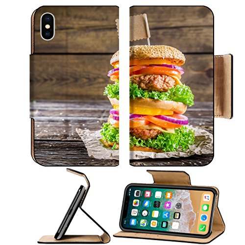 Luxlady Premium Apple iPhone X Flip Pu Leather Wallet Case IMAGE ID 27676152 Enjoy your double decker burger