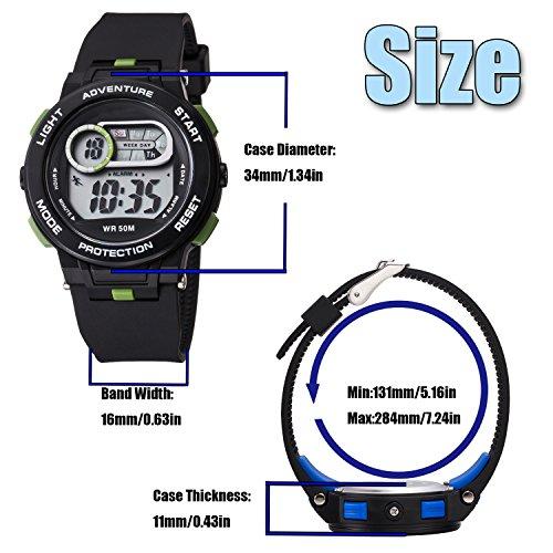 Kid Watch For Boy Girl LED Multi Function Fashion Sport Outdoor Digital Wristwatch Dress Waterproof Alarm Black Green by AXSPT (Image #5)