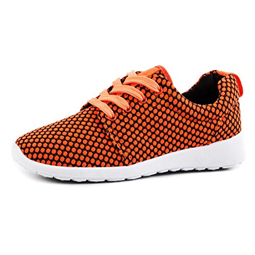 Trendige Unisex Damen Laufschuhe Schnür Sneaker Sport Fitness Turnschuhe Orange