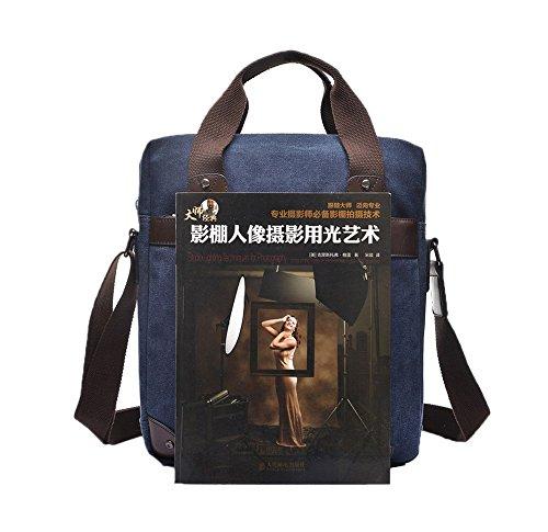 Genda 2Archer Lona Ipad bolsa de mensajero Bolsa para la escuela Maletín negocio (ligero caqui) azul oscuro