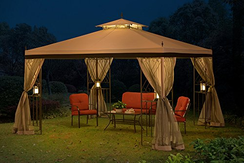 Sunjoy 10 X 12 Monterey Gazebo With Netting Gray With