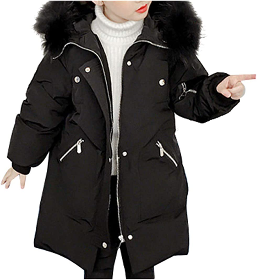 Kids Girls Padded Quilted Winter Coat Jacket Cotton Fur Hooded Long Parka Coats
