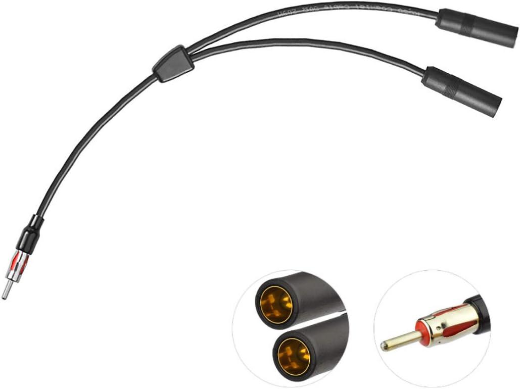 Bingfu Cable Combinador de Antena de Radio Estéreo FM Am de Vehículo Universal,Cable DIN Macho a Hembra Doble Tipo Y Motorola para Coche Receptor de ...