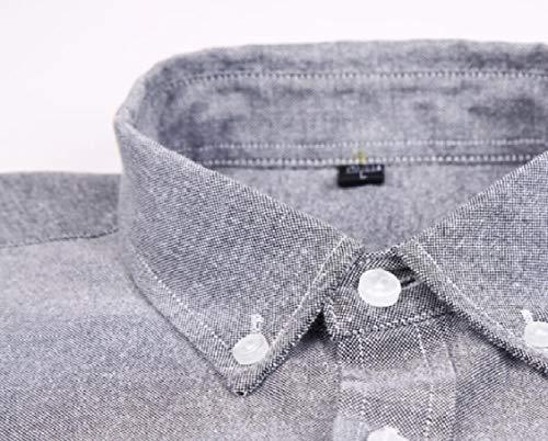Hokny TD Mens Casual Cotton Short Sleeve Denim Work Dress Shirts