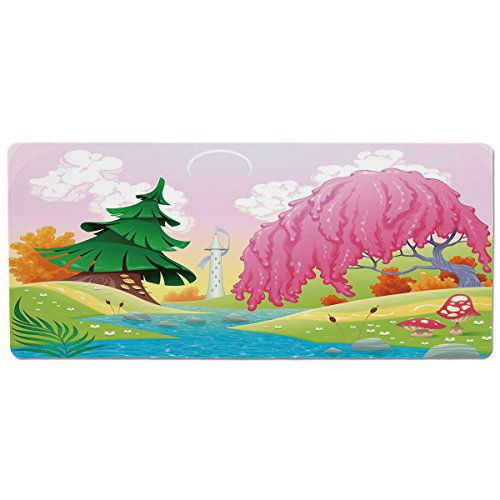 Riverside Spring - Pet Mat for Food and Water,Cartoon,Fantasy Landscape with Unusual Trees Riverside Drawing Spring Summer Season Print Decorative,Multicolor,Rectangle Non-Slip Rubber Mat for Dogs and Cats