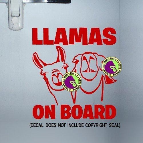 LLAMAS ON BOARD Trailer Vinyl Decal Sticker D