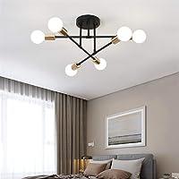 Modern Sputnik Chandelier 6 Lights Brass Plating Ceiling Light Fixture Pendant Dining Bedroom Lighting,A