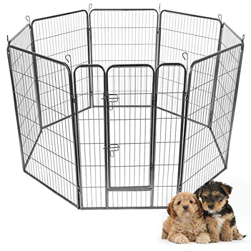 Giantex 24 32 40 48inch Dog Playpen With Door 16 8 Panel Pet Playpen For Large And Small Dogs Portable Foldable Freestanding Dog Exercise Pens Metal Dog Playpen Indoor Outdoor 8 Panels 48