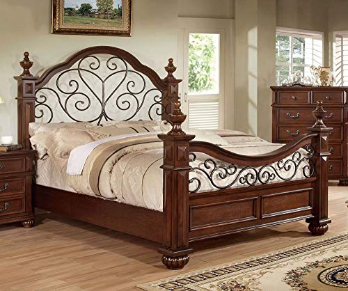 Brown Queen Poster Bed - 247SHOPATHOME IDF-7811Q Four-Poster-beds, Queen, Oak