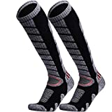 WEIERYA Ski Socks 2 Pairs Pack for Skiing, Snowboarding, Cold Weather, Winter Performance Socks Black Large