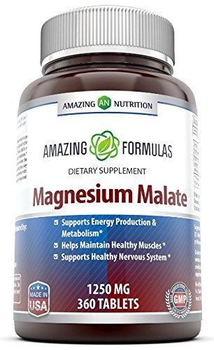 Amazing Formulas Magnesium Malate - 1250 Mg, 360 Tablets - Supports Energy Production & Metabolism - Helps Maintain Healthy Muscle - Supports Healthy Nervous System.