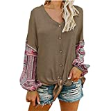 Realdo Clearance, Womens V Neck Knot Front Henley Long Sleeve Button up Patchwork Cardigan Blouse (X-Large,Brown)