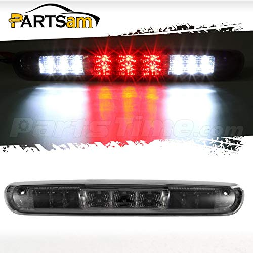 (Partsam Replacement For Chevrolet Silverado 2007-2013/GMC Sierra 1500 2500 3500 2014 Classic Model Red/White LED Smoke Lens High Mount 3rd Third Brake Light Cargo Tail)