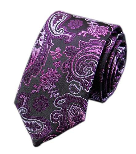 Secdtie Men's Purple Floral Silk Handmade Ties Jacquard Woven Dating Nearwear 1