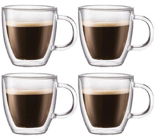 Bodum Bistro Double-wall Insulated 10-ounce Glass Mug - (Set of 4)