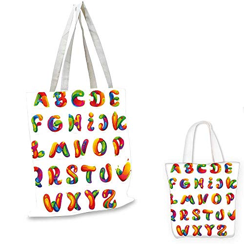 Educational fashion shopping tote bag Artistic Design of Alphabet Letters Brushstrokes Paint Splashes Creative Style emporium shopping bag Multicolor. 12
