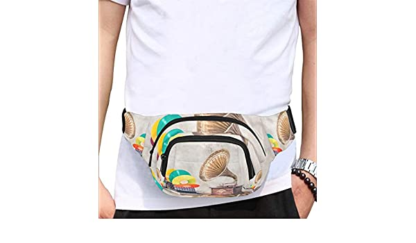 Old Gramophone With Horn Speaker Fenny Packs Waist Bags Adjustable Belt Waterproof Nylon Travel Running Sport Vacation Party For Men Women Boys Girls Kids