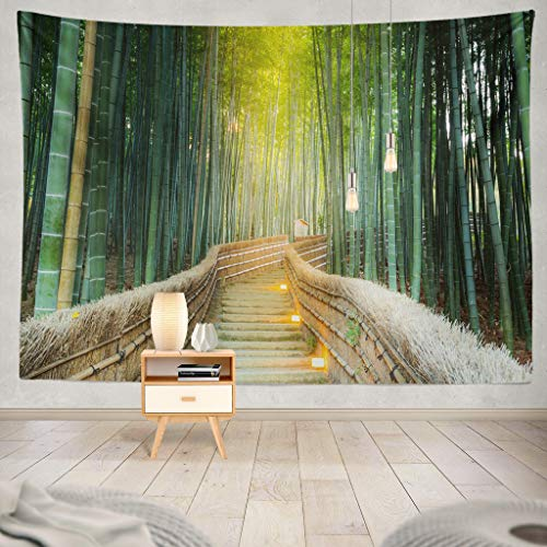 KJONG Green Jungle Bamboo Forest Abstract Nature Plant Leaf Bamboo Forest Japan Kyoto Zen Garden Green AwesomeDecorative Tapestry,60X80 Inches Wall Hanging Tapestry for Bedroom Living Room