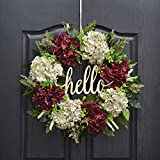 QUNWREATH Handmade 17 inch Hydrangea Series Wreath,Grass,Leaf,Hello Letter,Fall Wreath,Wreath for Front Door,Rustic Wreath,Farmhouse Wreath,Grapevine Wreath,Light up Wreath,Everyday Wreath,QUNW34