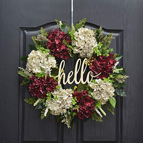 (QUNWREATH Handmade 18 inch Handmade Hydrangea Series Wreath,Gifts Package,Grass,Leaf,Hello Letter,Wreath for Front Door,Rustic Wreath,Farmhouse Grapevine Wreath,Light up Wreath,Everyday Wreath,QUNW34)