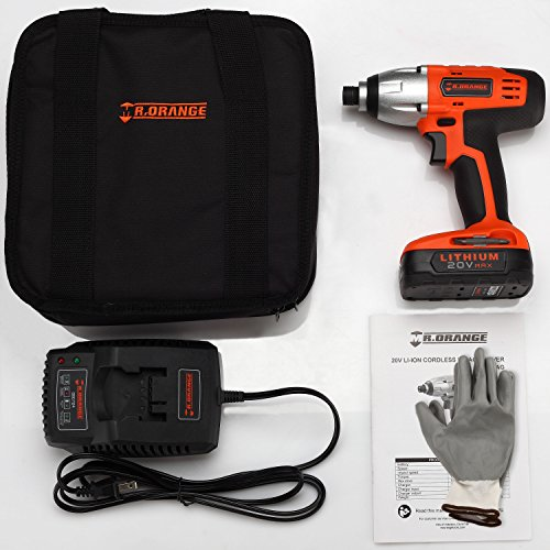 Mr.Orange 1/4 Inch 20V Lithium-Ion Cordless Impact Driver Kit with Quick Charger and Battery Includes Durable Gloves 2 pcs socket driver bits and Soft Tool Bag by Mr.Orange (Image #1)