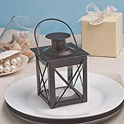 Luminous Black Mini-Lantern Tea Light Holder - Baby Shower Gifts & Wedding Favors (Set of 24)