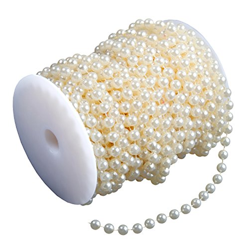 Bead Roll, Airkoul Ivory 8mm X 20m/66ft Acrylic Pearl Bead Roll Strand Garland DIY Party ()