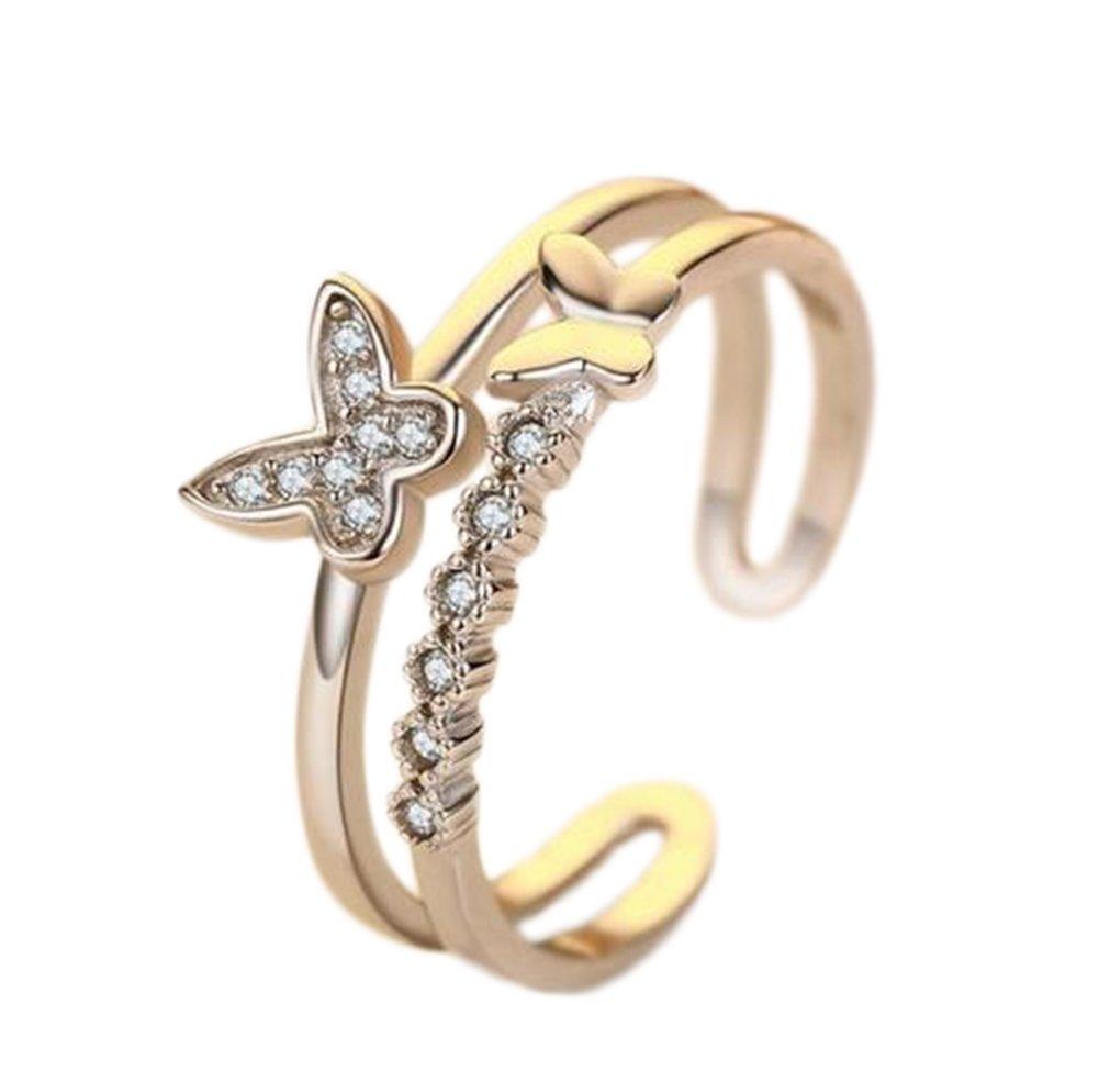 Westeng femmina anello aperto regolabile anello di diamanti artificiali argento gioielli elegante farfalla modello