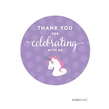 Andaz press birthday round circle labels stickers thank you for celebrating with us unicorn