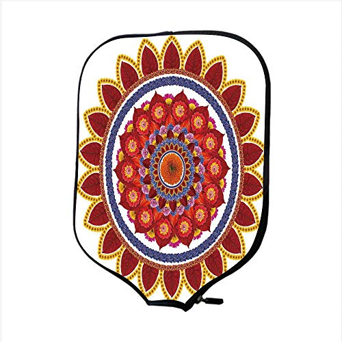 CANCAKA Neoprene Pickleball Paddle Racket Cover Case,Red Mandala,Round Figure with Leaves and Summer Meadow Daisies Sunflowers Colorful Joyous Decorative,Multicolor,Fit for Most Rackets
