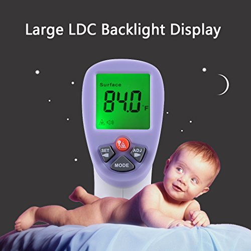 BSTPOWER Baby Thermometer Forehead Digital Infrared Non Contact Instant Read 3 Color Backlight Fever Alert with Body & Surface Modes FDA Approved