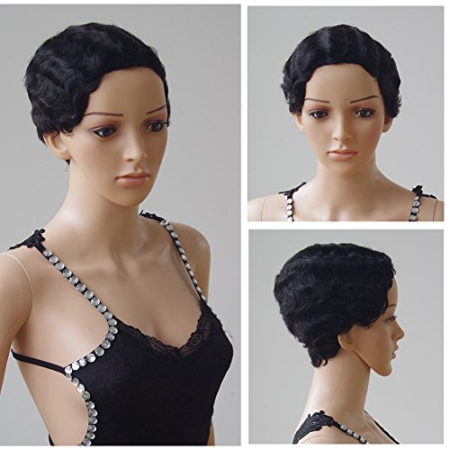 100% Remy Human Hair Mommy Wig Finger Wave Full Wig Short Wavy Curly Full Head Natural Hair+Stretchable Elastic Wig Net for Black Women Dress and Beauty,#1B Natural (Sexy Updo)