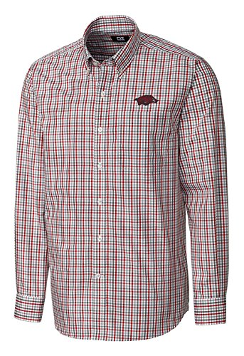 Cutter & Buck NCAA Arkansas Razorbacks Men's Long Sleeve Gilman Plaid Shirt, Large, Cardinal Red