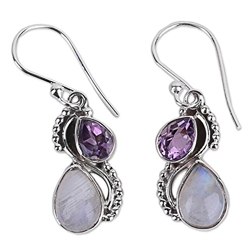 (NOVICA Multi-Gem Rainbow Moonstone .925 Sterling Silver Dangle Earrings, 'Two Teardrops')
