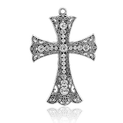 AMZ Beads - Large Silver Antique Clear Rhinestone Crystal Wedding Bridal Rosary Cross Pendant Charm - 2 (Filigree Cross Charm)
