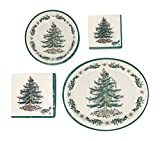 Spode Christmas Tree Paper Plates and Napkins Tableware Bundle (72, Serves 16)