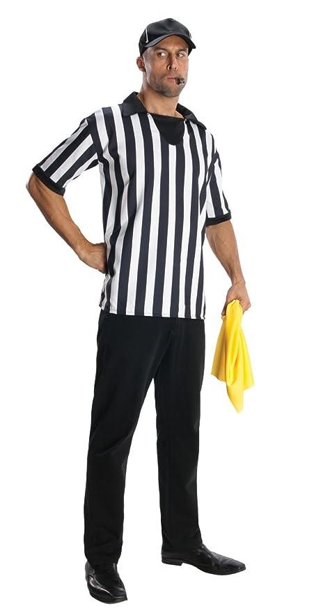 amazoncom referee halloween costume shirt hat flag whistle adult men size xl 40 42 clothing