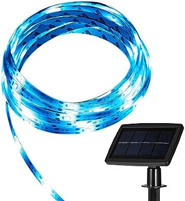 Tira LED GrandBeing Luces Solares 5M, Luz Flexible Impermeable Ultra Brillante Con Panel Solar Para Bodas, Patios, Fiestas o Jardín, Iluminación Para Decoración de Casa Con Cargador (Luz Azul): Amazon.es: Electrónica