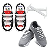 Homar Durable Sports Fan Shoelaces - Best in No Tie Shoelace Replacement Accessories - Rubber Adult Elastic Athletic Running Shoelaces Flat Shoe Laces for Sneakers Boots Oxford - White